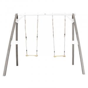 AXI Doppia Altalena per bambini in legno da giardino Grey-White