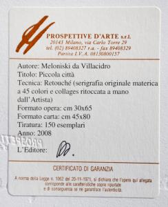 Meloniski da Villacidro Piccola città Serigrafia retouchè Form cm 45x80
