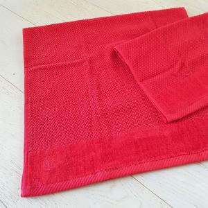 Coppia asciugamani chicco di riso e ciniglia rosso