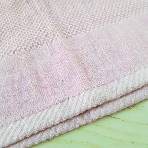 Coppia asciugamani chicco di riso e ciniglia rosa
