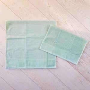 Coppia asciugamani chicco di riso e ciniglia verde salvia