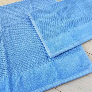 Coppia asciugamani chicco di riso e ciniglia azzurro