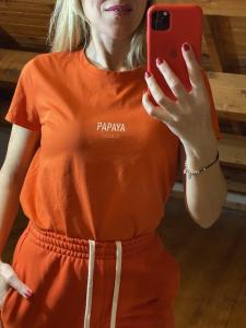 Tshirt Vicolo tinta unita Coconut Papaya e Peach