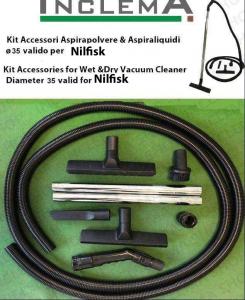 KIT tubo flessibile e Accessori Aspirapolvere & Aspiraliquidi ø35 (tubo diametro 32) valido per NILFISK