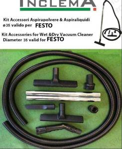 KIT tubo flessibile e Accessori Aspirapolvere & Aspiraliquidi ø35 (tubo diametro 32) valido per FESTO