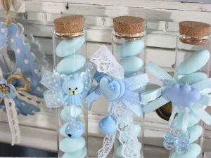 Provetta porta confetti Nascita azzurro e decori con tappo sughero