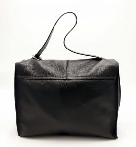 Cartella Clio in pelle bottalata nera REBELLE
