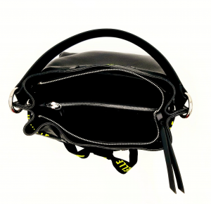Secchiello in pelle bottalata nera REBELLE