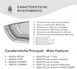 CASSERUOLA BASSA ANTIADERENTE ECOLOGICA CM24 CON COPERCHIO LINEA TUSCANY