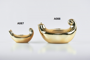 Lucerna porcellana dorata cm. 12