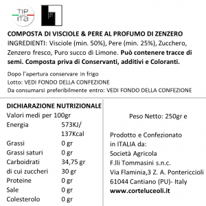 Composta di Visciole & Pere al profumo di Zenzero - 250gr