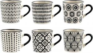 Set 6 tazze caffè in stoneware decoro assortito cc 90