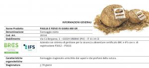 Formaggio stagionato in Giara in Paglia e Fieno - 400gr