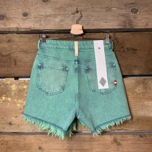 Pantaloncino Amish Supplies Donna con Frange in Denim Verde
