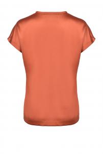 Blusa Farida a maniche corte in raso di seta marrone Pinko