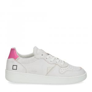 D.A.T.E. Court leather white fuxia-2