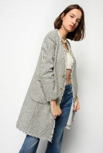 SHOPPING ON LINE PINKO GIACCA LUNGA IN TWEED FANTASIA BIECO NEW COLLECTION WOMEN'S SPRING SUMMER 2021