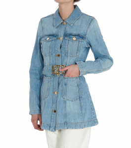 SHOPPING ON LINE PINKO GIACCA IN TESSUTO JEANS CON CINTURA LOGAN NEW COLLECTION WOMEN'S SPRING SUMMER 2021
