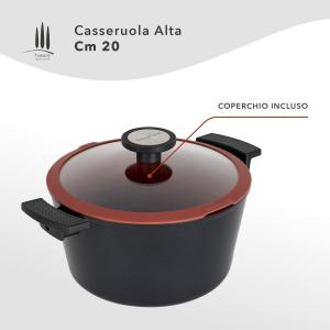 CASSERUOLA ALTA ANTIADERENTE ECOLOGICA CM 20 CON COPERCHIO LINEA TUSCANY