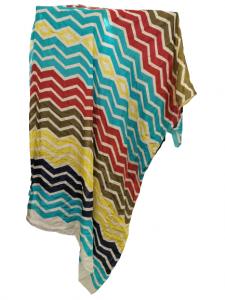 Sciarpa donna |in seta multicolor |motivi ad onde | base bianca | Made in Italy