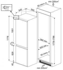 Smeg C8174TN2P frigorifero con congelatore Da incasso Bianco 254 L A++