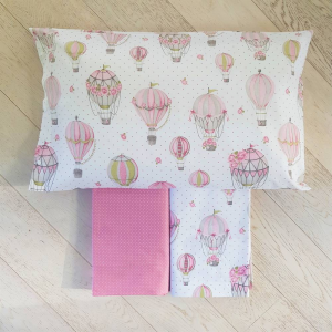 Completo Lenzuola Mongolfiere rosa