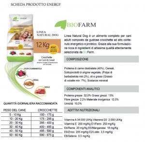 Cibo per Cani Secco, Crocchette Cane con Pollo ad Alto Contenuto Proteico, Sacco Mangime Secco Cani - 12 Kg Crocchette ENERGY