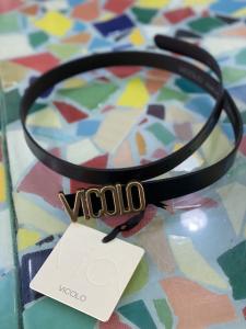 Cintura in pelle Vicolo con fibbia Logo