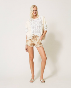 SHOPPING ON LINE TWINSET MILANO SHORTS IN TWILL TIE-DYE  NEW COLLECTION WOMEN'S SPRING SUMMER 2021