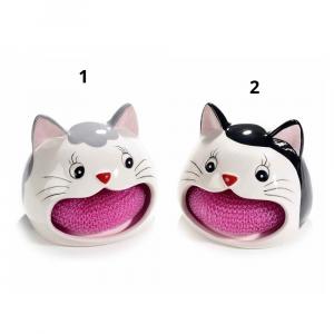 Gattino in ceramica porta spugna