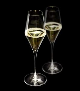 Set di 2 calici da champagne in vetro cristallino, cl 29, manico illuminato, Highlight cm.26h diam.8,25