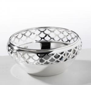 Ciotola tonda traforata, metallo placcato argento, collezione Rondine cm.6,5h diam.17