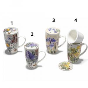 Tazza tisaniera in porcellana decori floreali