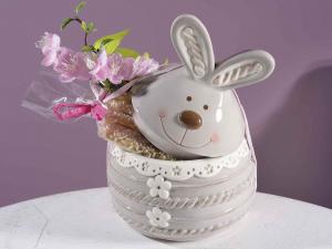 Set due barattoli portadolci in ceramica colorata a coniglio