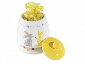 Set 2 barattoli in ceramica con decoro coniglietti in rilievo