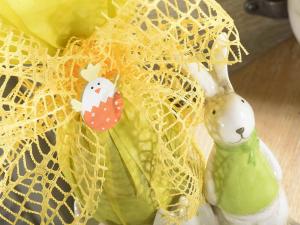 Set 3 vasetti in ceramica colorata con coniglietto decorativo