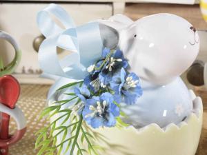 Set due contenitori a coniglio in ceramica colorata con fiorellini