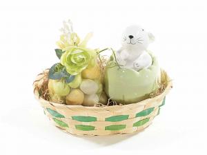 Set 4 contenitori a uovo con coniglietto in ceramica colorata