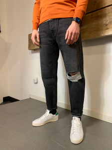 Jeans Amish Supplies Uomo Rave Nero Slavato con Spaccatura