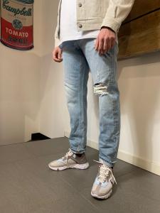 Jeans Uomo Amish David Columbus con Spaccature Denim Chiaro