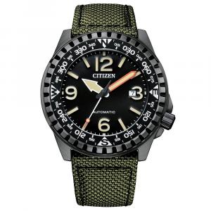 Citizen Military Automatico, cassa acciaio, cinturino tecnico verde