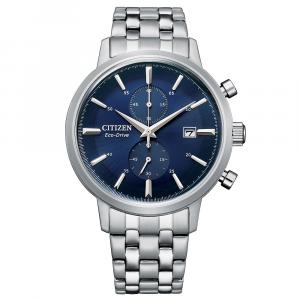 Citizen Classic Crono, bracciale acciaio, quadrante blu