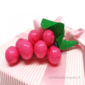Portaconfetti Fleur Mille Righe Rosa con tasca 9x9x9 cm - Scatole battesimo bimba