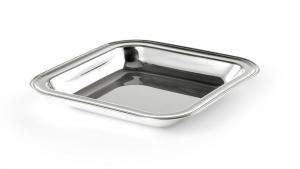 Cestino quadrato, placcato argento, stile Inglese cm.30x30x4h
