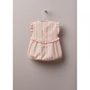 Pagliaccio in tessuto di cotone leggero, ottimo per bambina, fino a 24 mesi. Short in COTONE BABY a righe, a righe rosa su fondo avorio, si allaccia dietro e tra le gambe con bottoni in madreperla.