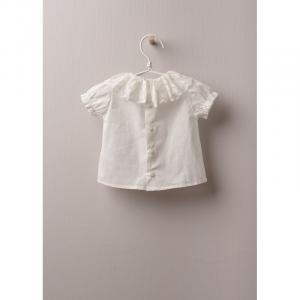 camicia in tessuto di cotone leggero, ottima per neonati e bambine, fino a 24 mesi. Blusa IN COTONE BABY si allaccia dietro con bottoni in madreperla.