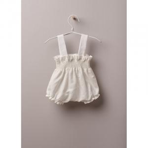 mutandone con bretelle in tessuto leggero di cotone e lino, ideali per neonati e bambine, fino a 24 mesi. La morbida fascia elastica offre il miglior comfort.
