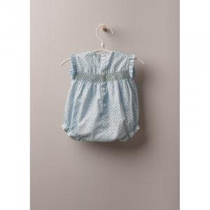 Pagliaccio corto in tessuto di cotone leggero, ottimo per bambina, fino a 24 mesi. BOTANICAL GARDEN pantaloncino floreale a fiori si allaccia dietro e tra le gambe con bottoni in madreperla.