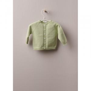 Cardigan girocollo con maniche lunghe ottimo per neonati e bambine, fino a 4 anni. Il cardigan in maglia è prodotto in cotone leggero, con girocollo. Chiusura sul davanti con bottoni in madreperla. Prodotto in intero, un pezzo unico senza cuciture, per il massimo comfort per il tuo bambino.