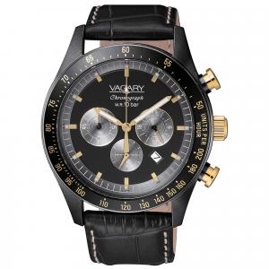 Orologio cronografo uomo in acciaio Vagary collezione Rockwell Crono cinturino pelle